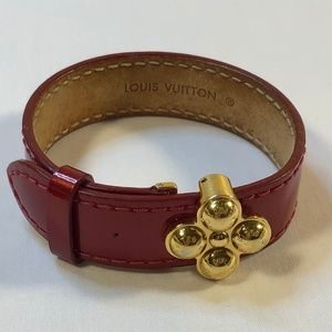 Louis Vuitton Leather & Gold Tone Hardware Bracele